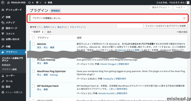 WordPress Ping Optimizerの有効化