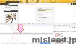 パスワードが非表示になっている画面 デペロッパーモード Google Chrome