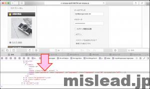 パスワードが非表示になっている画面 デペロッパーモードでpasswordをtextに打ち替える Safari