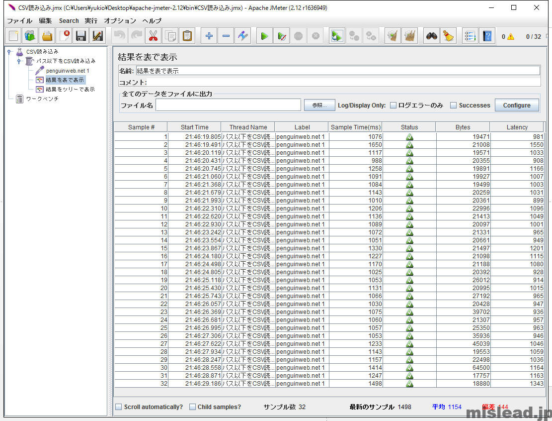 JMeter CSV読み込み用 結果を表で表示 counter関数利用