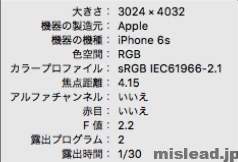 iPhone6s Exif情報