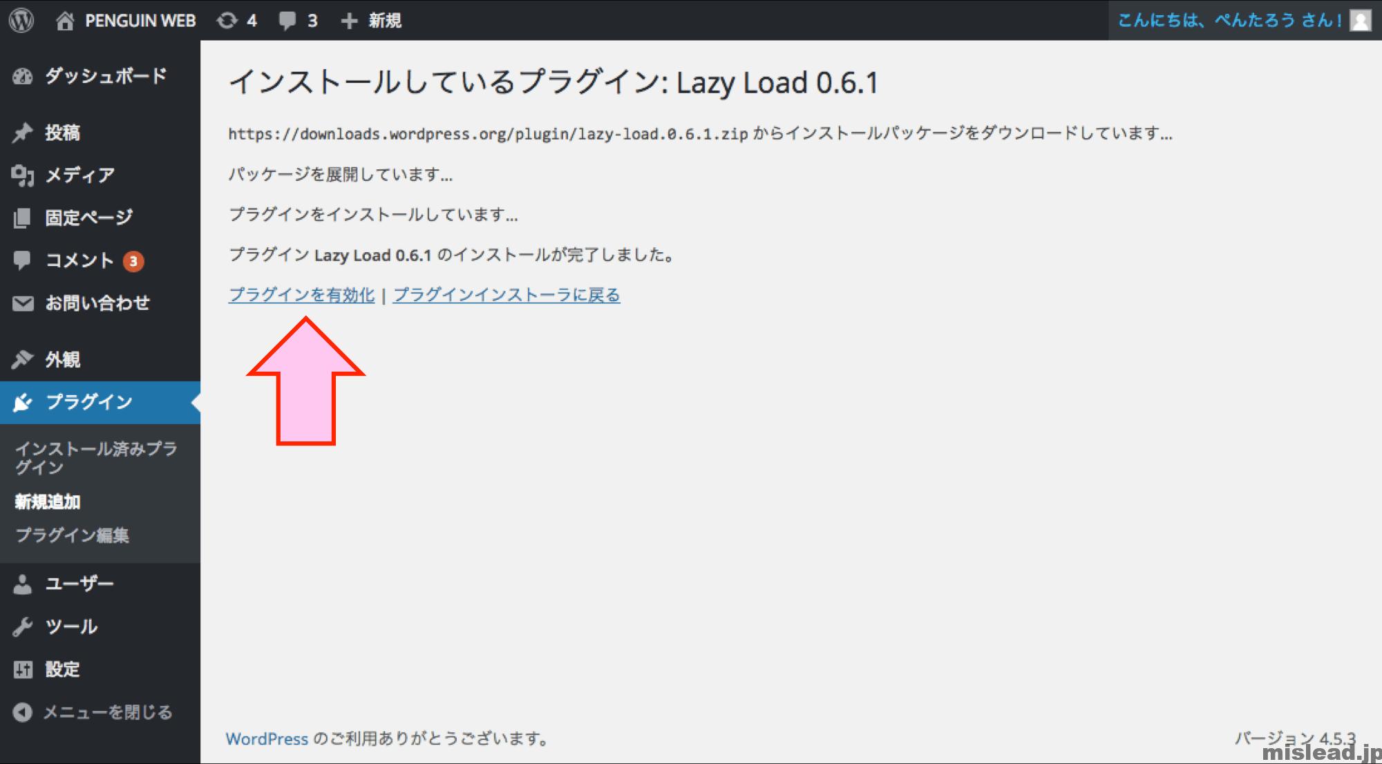 Lazy Load プラグイン インストール