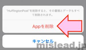 アップデートできないiPhoneアプリをストレージから選択し削除の最終確認