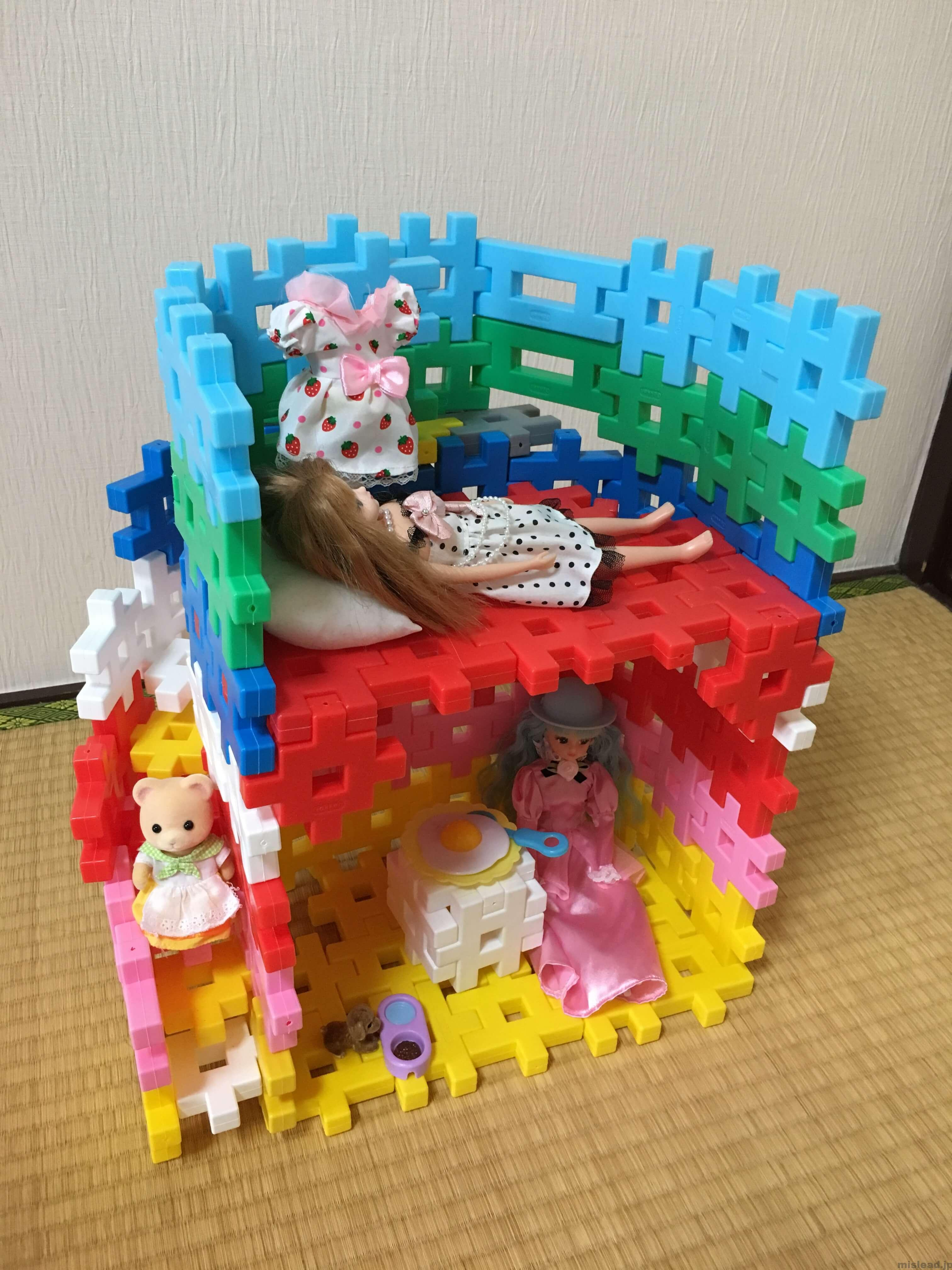 リカちゃんハウス人形入れた状態 ニューブロック