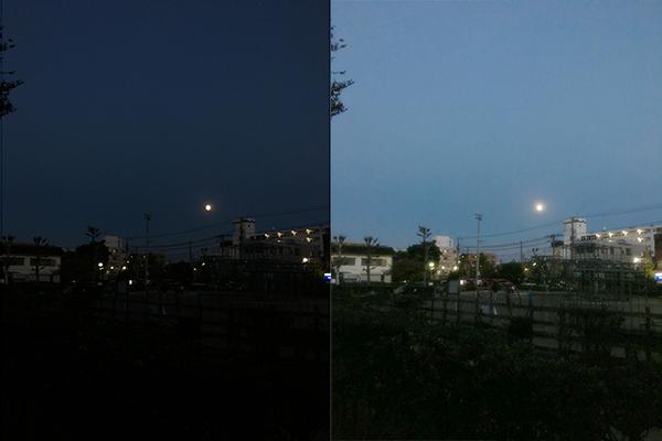 夜景のふんわり明るくレタッチのbefore after