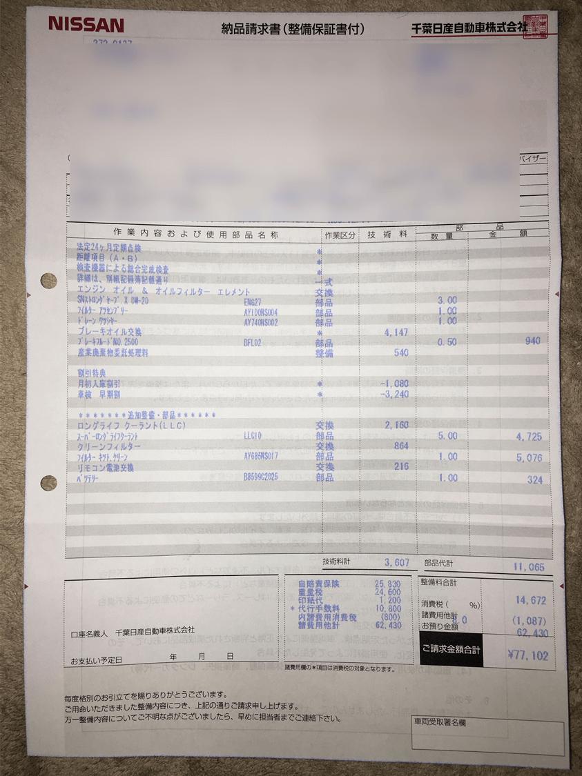 最終的な車検の金額 カーディーラー